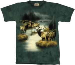 This t-shirt shows an Elk Herd in the Mist.