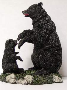 Black Bear and Cub Figurine