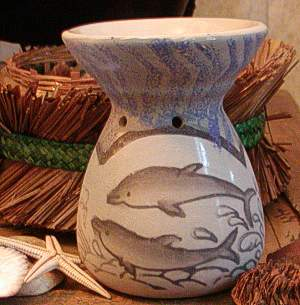 Dolphin drawing on ceramic