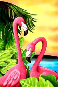 Brightly colored Flamingo Towel